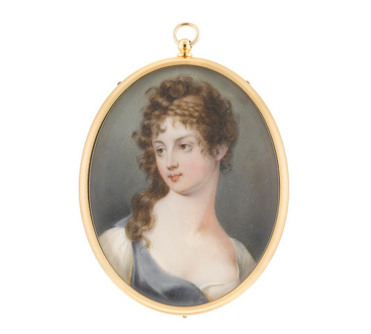 John Cox Dillman Engleheart (British, 1782-1862) A Lady, wearing blue and white dress, with gold trim, her hair elaborately curled and upswept with a double braid, the back left loose and falling before her right shoulder