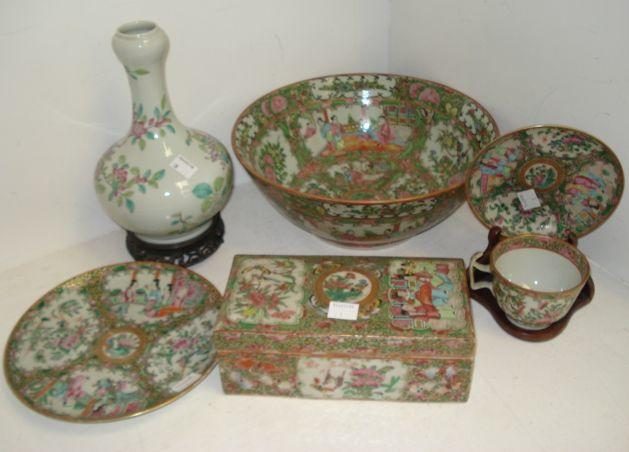 A 19th Century Chinese famille decorated rectangular toilet box and cover, the interior with central division, a similar large bowl, 28cm diameter, a cup, saucer and plate, and a 20th Century Chinese onion top bottle vase decorated with wisteria and flowers, on a wooden stand,19cm high.