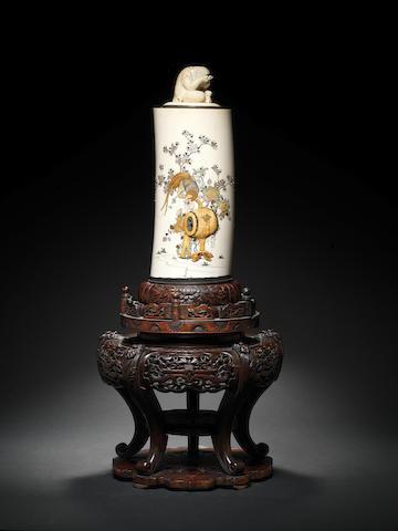 A Shibayama-style silver-mounted ivory tusk vase By Masayuki, Meiji Period