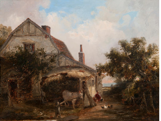 Thomas Smythe (British, 1825-1906) Farmstead with chickens and donkey