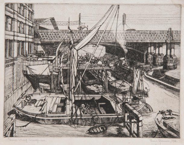 Noel Spencer (British, 1900-1986) 'Bridge Wharf, Blackfriars' inscribed as titled, signed and dated 1926, etching  20 x 26cm (7 7/8 x 10 1/4in). together with two further etchings by the same hand; The Waste paper wharf, Battersea; Boats beside a London wharf; also a landscape of 'Taverham, Norfolk' watercolour, signed and inscribed, 27 x 36cm, all unframed. (4)