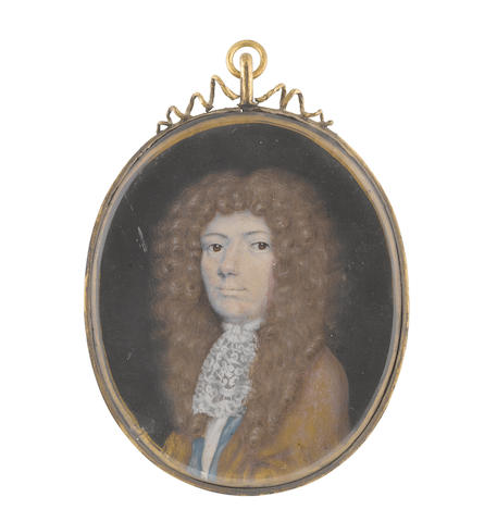 English School, circa 1680 A Gentleman, said to be Brigadier General Thomas Meredith, wearing gold cloak, blue waistcoat, white chemise, stock and lace jabot, long curled natural wig