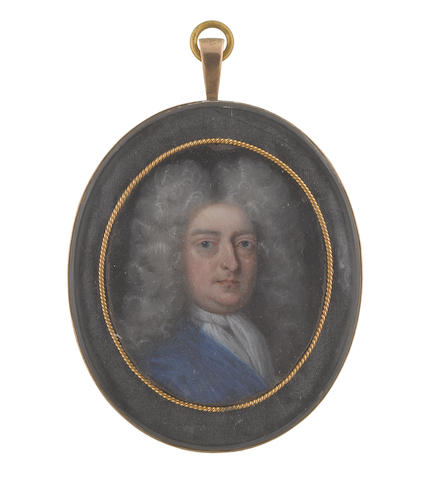 English School, circa 1720 A Gentleman of the Somerville family, wearing blue coat, white cravat and long curled powdered wig