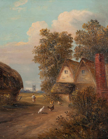 Christopher Mark Maskell (1846-1933) Figure and chickens before cottages; Figures in a landscape; a pair