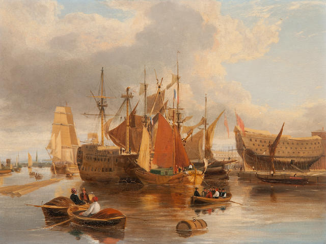 George Vincent (British, 1796-1831) Ship building at Greenwich