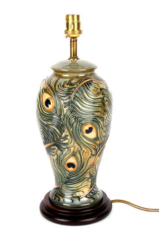 A contemporary Moorcroft vase form lamp base
