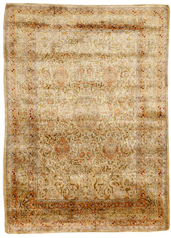 A silk Hereke rug, West Anatolia, circa 1960, 7 ft 6 in x 5 ft 5 in (229 x 165 cm) good condition