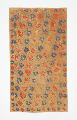 An Ottoman silk-embroidered linen Panel Turkey, 18th Century