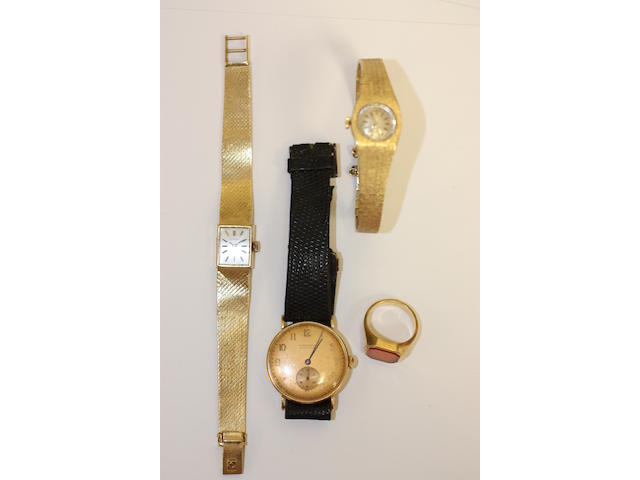 Three wristwatches and a signet ring