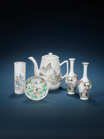 A group of famille rose wares 20th century