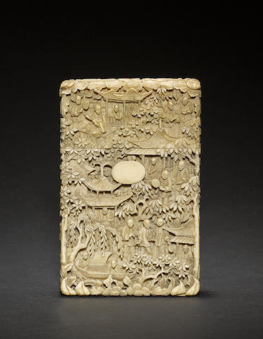 A Cantonese ivory card case of typical rectangular form and design Qing Dynasty