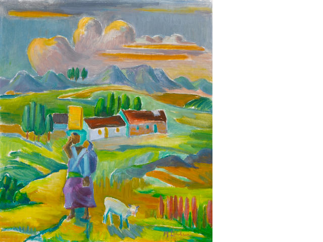 Maggie (Maria Magdalena) Laubser (South African, 1886-1973) Landscape with a figure, a sheep and houses