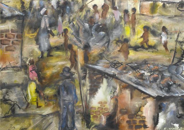 Ephraim Mojalefa Ngatane (South African, 1938-1971) In the township