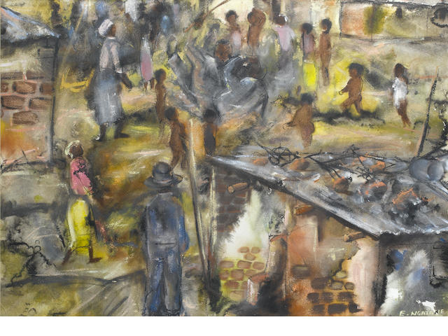 Ephraim Mojalefa Ngatane (South African, 1938-1971) In the township