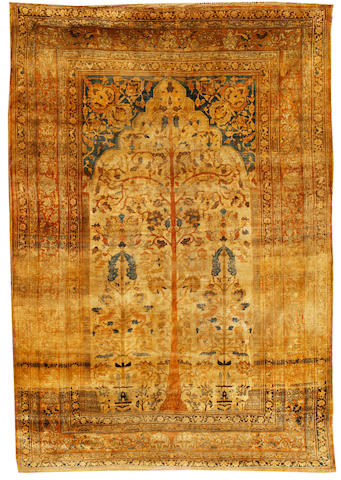 A silk Tabriz prayer rug, North West Persia, circa 1890, 9 ft x 6 ft (271 x 183 cm) minor wear, with orginal ends
