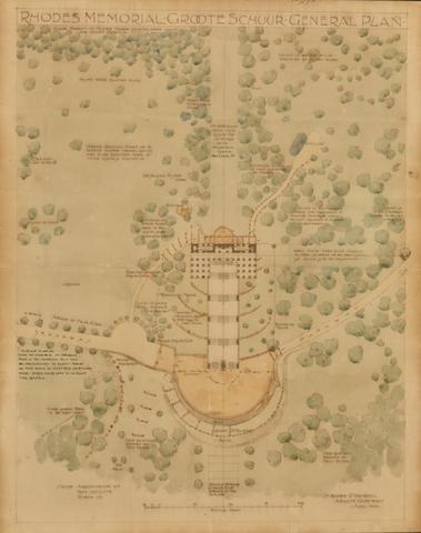 Herbert Baker (British, 1862-1946) A general plan of the Rhodes Memorial at Groote Schuur
