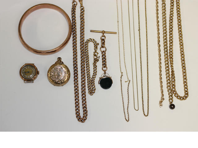 A collection of gold chains and further items