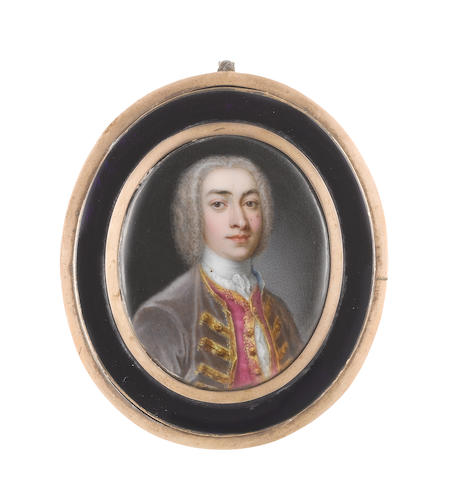 Jean André  Rouquet (Swiss, 1701-1758) A Gentleman, wearing mole-coloured coat with gold embroidered trim and buttons, gold figured fuchsia waistcoat, white frilled chemise and stock, powdered wig