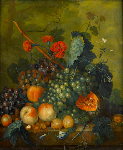 Follower of Jan van Huysum (Amsterdam 1682-1749) Pears, peaches, grapes and a melon