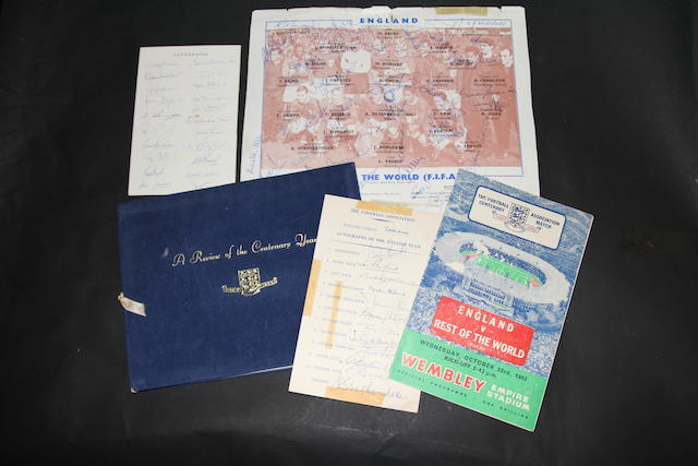1963 F.A. Centenary year review, hand signed ephemera