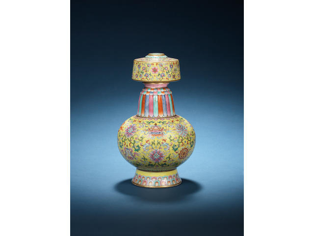 A rare Imperial famille rose Tibetan style ewer, Penba hu Jiaqing seal mark and of the period