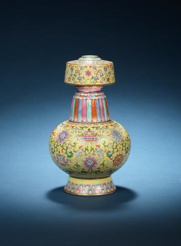 A rare famille rose Tibetan-style ewer, penba Jiaqing seal mark and of the period