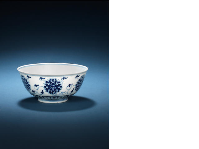 A blue and white 'lotus' bowl, Guangxu mark and period