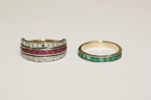 A ruby and diamond swivel eternity ring and an emerald half eternity ring (2)