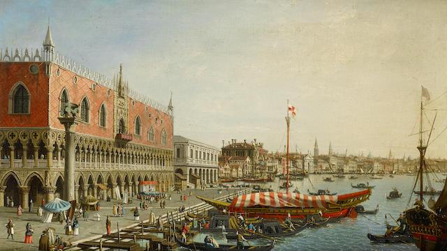 Follower of Antonio Canal, called il Canaletto (Venice 1697-1768) The Riva degli Schiavoni with the Palazzo Ducale, Venice; and The Molo with Punta della Dogana, Venice   (2)