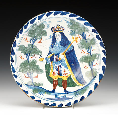A Bristol delftware blue dash royal portrait charger, circa 1727-30