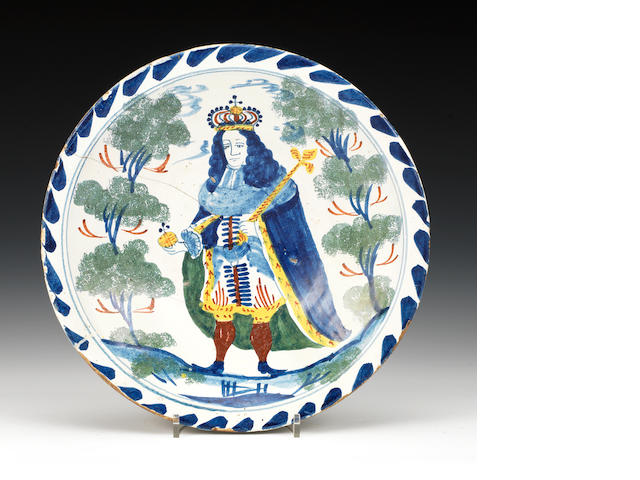 A Bristol delft blue dash charger depicting George II