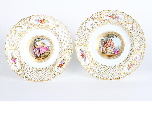 A pair of Dresden porcelain cabinet plates Late 19th century