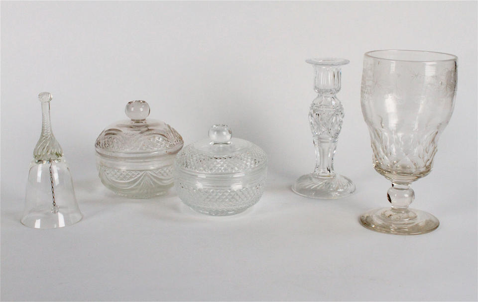 A suite of Venetian style gilt decorated glass