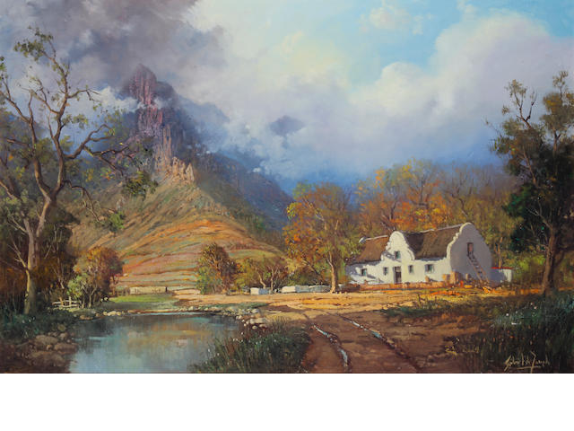 Gabriel Cornelis de Jongh (South African, 1913-2004) Farm in the Hottentots Holland