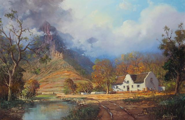 Gabriel Cornelis de Jongh (South African, 1913-2004) Farm in the Hottentots Holland