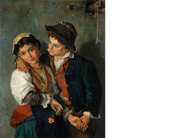 Painting of a young couple inscribed 'De Vivo Filio', not signed (PV36)