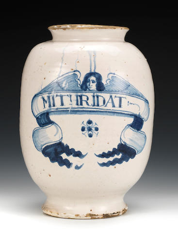 A large London delftware pharmacy jar