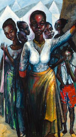 Ben (Benedict Chukwukadibia) Enwonwu, M.B.E (Nigerian, 1917-1994) Portrait of Banita Valiene