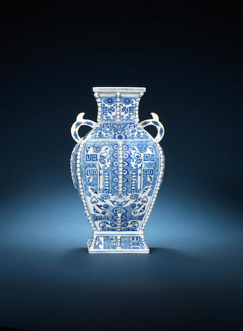 A blue and white archaistic vase 18th century
