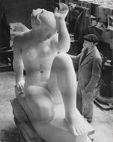 Brassai (Hungarian/French, 1899-1984) 'La Montagne' and Aristide Maillol, Marly-le-Roi, 21 December, 1936
