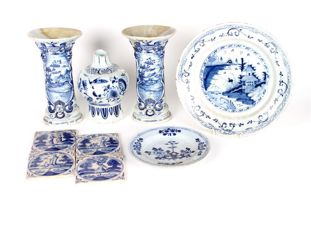 A group of Delft pottery
