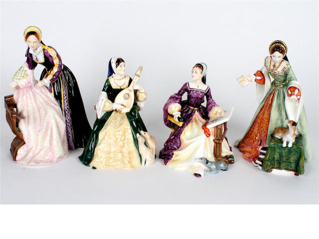 Four Royal Doulton figures of Tudor women