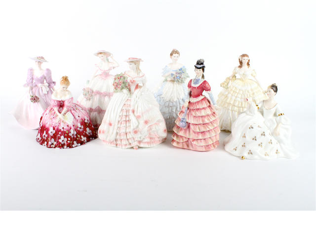 Five Coalport figures and three Royal Doulton figures