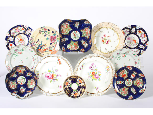 A group of assorted English porcelain dessert plates, 19th Century
