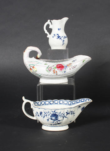 Two Worcester sauceboats and a cream jug, circa 1760-70