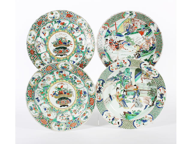 Four Chinese famille verte chargers, Kangxi