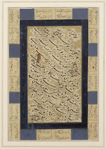 A calligraphic composition in Persian prose in nasta'liq script, signed by Muhammad 'Ali al-Husaini Persia, 17th Century