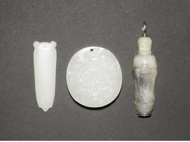 Three jade pendants; comprising: