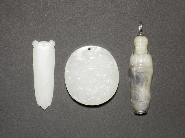 Three jade pendants; comprising: