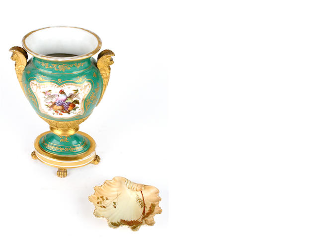 A Royal Worcester blush ivory dish, and a French porcelain vase